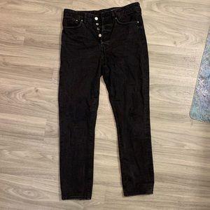 Light Black High Waisted Button Jeans